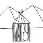coloriage enfant cabane et pyramides