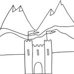 coloriage enfant chateau fort et montagnes