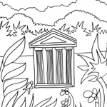 coloriage enfant temple et jungle