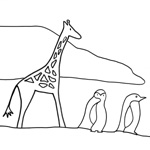 coloriage Rafi la girafe manchots