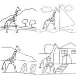 coloriage Rafi la girafe en voyage