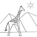 coloriage rafi la girafe pyramides