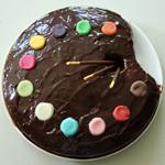 Gâteau d'anniversaire palette de peintre