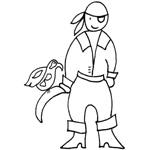 coloriage pirate perroquet