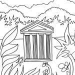 coloriage enfant temple et jungle