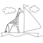 coloriage rafi la girafe bateau
