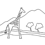 coloriage rafi la girafe savane
